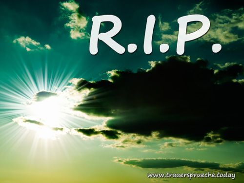 Trauerbild: Rest in Peace (R.I.P.) mit aufgehender Sonne