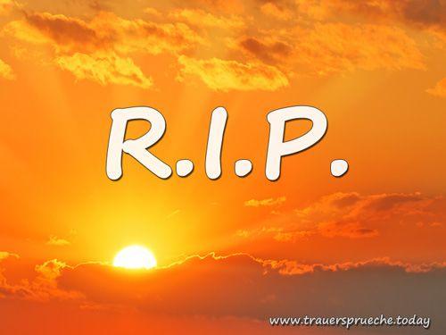 Trauersprüche - Trauerbild: Rest in Peace (R.I.P.) mit einer untergehender Sonne