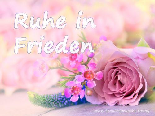 Trauerbild: Ruhe in Frieden mit rosa Rose