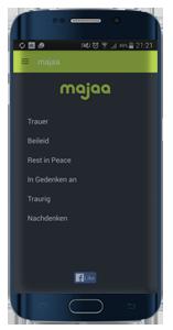 majaa-App – digitale Trauerkarte. Einfühlsame Trauerbilder und Beileidsbekundungen mit dem Smartphone teilen - kostenlos und werbefrei.
