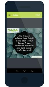 majaa-App – einfühlsame Trauerbilder und Beileidsbekundungen mit dem Smartphone teilen - kostenlos und werbefrei.
