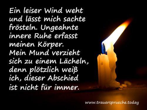 Trauerbild: Trauerspruch mit weißer Kerze