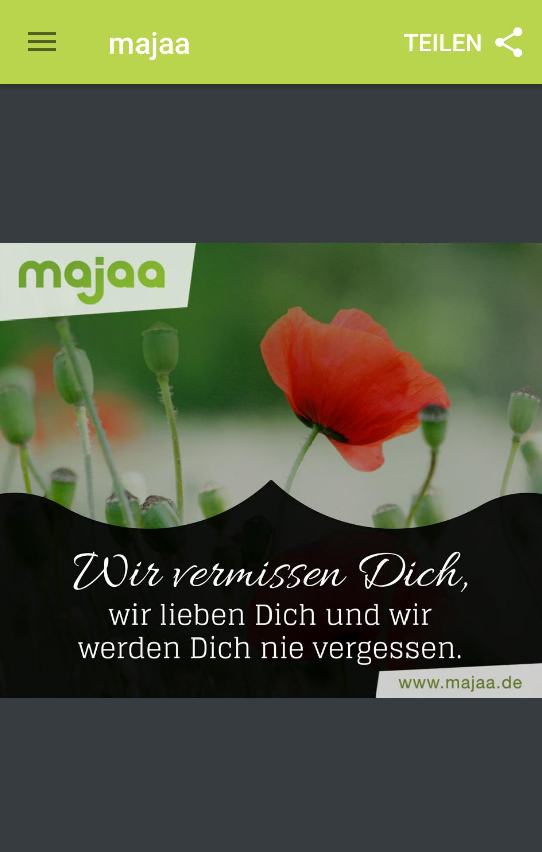 majaa Trauer App - einfühlsamer Trauerspruch