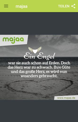majaa Trauer App - wundervolle Bilder mit Sprüchen zur Trauer