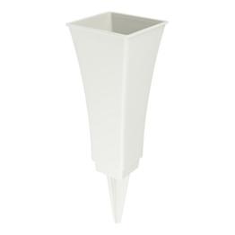 avaseo V2-200-1 Steckvase Tulpia 4-eckig mit rundem Einsatz Höhe 20cm (Steinfarben) -