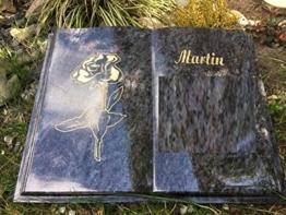 Grabstein Buch Liegestein Grabmal Urnenstein Urnengrabstein Bibel 45cm x 35cm x 6cm inklusive Gravur und Stützkeil -