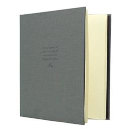Kondolenzbuch mit grauem Stoffeinband, 24.8 x 22.8 cm, 72 Seiten weißes Papier blanko -