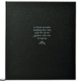 Kondolenzbuch Trauer, schwarzer Leineneinband, 22 x 24 cm, 70 Seiten weiß blanko -