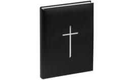 Pagna 30913-01 Kondolenzbuch Kreuz, hochwertiger Kunststoffeinband mit Silberprägung, 195 x 255 mm, 240 Seiten, schwarz -