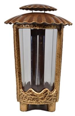 Paul Jansen Grablicht rund mit Kunststoffeinsatz und Blechdeckel mit 4 kleinen Füßen Höhe 24 cm, braun / gold -