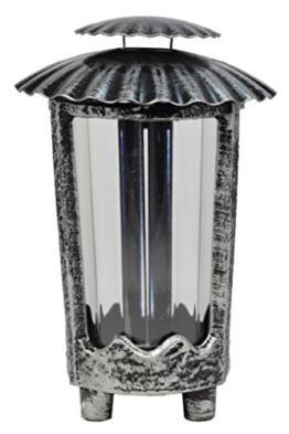 Paul Jansen Grablicht rund mit Kunststoffeinsatz und Blechdeckel mit 4 kleinen Füßen Höhe 24 cm, schwarz / silber -