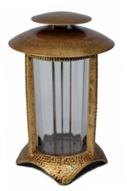 Paul Jansen Grablicht rund mit Kunststoffeinsatz und halbrundem Standfuß Höhe 21 cm, braun / gold -