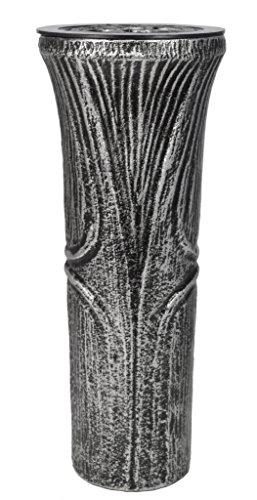 Paul Jansen Grabvase konische Form mit Kunstoffeinsatz und Blumenverteiler Höhe 26 cm, 0041A, schwarz / silber -