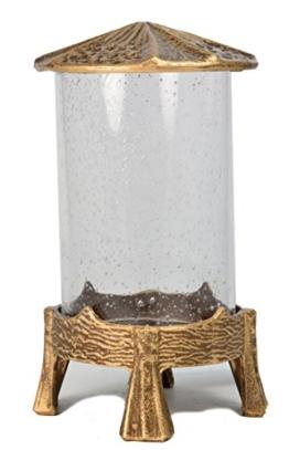 Paul Jansen runde Grableuchte mit Bubbelglas in der Farbausführung Höhe 21,5 cm, braun / gold -