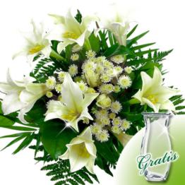 Trauerstrauß weiße Lilien mit Vase