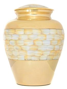 Urne für Asche, Messing Urne Erwachsene, Funeral Memorial Begräbnis Urne groß, Perlmutt und Gold NEU, Amazing Preis -