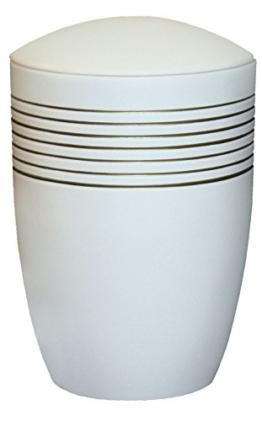 """Urns UK 19.5 x 19.5 x 30 cm """"Saunton Bänder"""" Erwachsene Einäscherung Urne für Asche Keramik Urne, weiß -"""