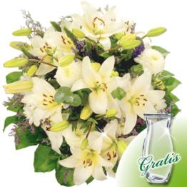 Kondolenzstrauß mit Lilien und Vase