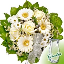 Trauerstrauß in Weiß mit Vase