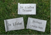3er Set Schild Gedenken Grabschmuck *mit Inschrift* Metall grau je 10 cm
