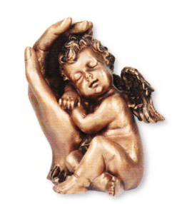 Behüteter Engel Bronze/Grabschmuck/Allerheiligen/Totensonntag