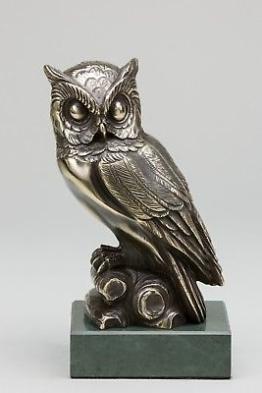 Deko-Figur Groß Eule Messing 21cm Poliert Granit-Sockel Glänzend Dunkel