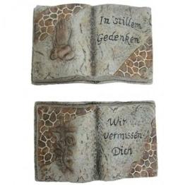 Deko Stein Keramik Dekoration Grabschmuck Grabstein Buchform Stille Gedenken NEU