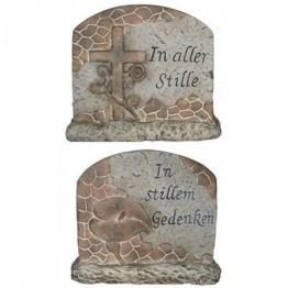 Deko Stein Keramik Dekoration Grabschmuck Grabstein in Stille Gedenken Grab NEU