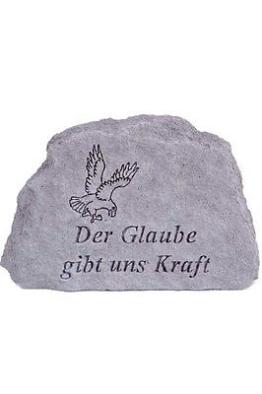 """Gedenkstein """"Der Glaube gibt uns Kraft"""" aus Steinguss 17 x 11 cm Grabschmuck"""