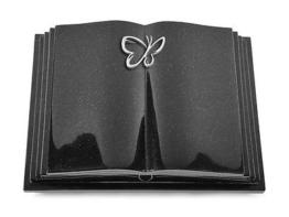 Grabbuch, Grabstein, Grabmal, Grabplatte, Steinbuch, Indisch Black, 40x30x7 cm