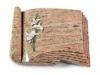 Grabbuch, Grabstein, Grabplatte, Grabmal, Buchform, Raw Silk, 40x30x6 cm