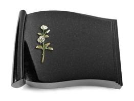 Grabbuch, Grabstein Grabplatte in Buchform, Black, 40x30x7 cm