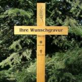 Grabkreuz, Holzkreuz, Unfallkreuz, inklusive Gravur, 38x100cm, massiv Eiche