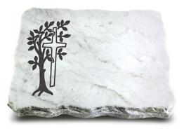 Grabplatte, Grabstein, Gedenkstein, Liegestein, Urnenstein ca. 40x30x5 cm Marmor