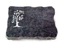Grabplatte mit Baum, Grabstein, Natursteinart: Orion, ca. 40x30x5 cm