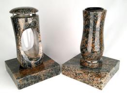 Grabschmuck Grablampe Grablaterne Grablicht Friedhofslampe Grabvase Granit Gneis
