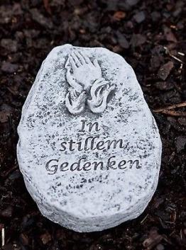 """Grabschmuck Grabstein """"In stillem Gedenken"""" Frostfest Steinguss Grab wetterfest"""