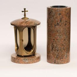 Grabschmuck Granit Grablampe Grabvase Grableuchte  Messing - Granit Multicolor