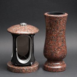 Grabschmuck Granit Grablampe Grabvase  Set  Vase + Grablicht aus Granit Imperial