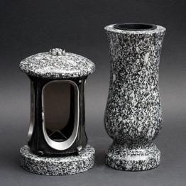 Grabschmuck Granit Grablaterne Grabvase Grablampe Grableuchte aus Granit Kosmin