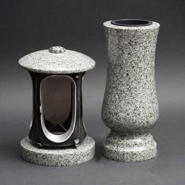 Grabschmuck Granit Grablaterne Grabvase Grablampe Grableuchte aus Kuru grey