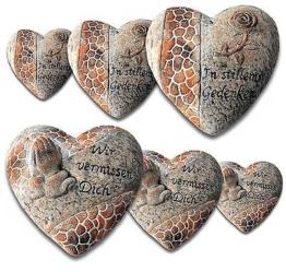 Grabschmuck Herz aus Keramik mit Inschrift | 3 Größen und 2 Motive auswählbar