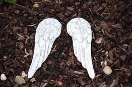 Grabschmuck kleine Engelsflügel Frostfest Steinguss Engel Flügel Grab Garten