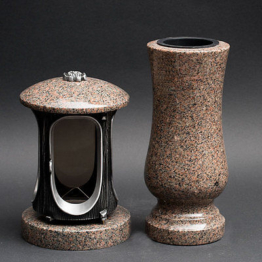 Grabschmuck Set Grabvase  Vase und Grablicht  Grablampe Granit BOHUS ** BOHUS