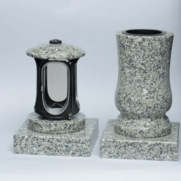 Grabschmuck Set XL  Vase Grablicht Grabsockel Grablampe  Granit  schlesisch