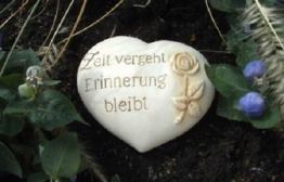 Grabschmuck Stein Zeit vergeht Erinnerung bleibt 18cm 3D Motiv Keramik Gedenken