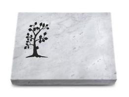 Grabstein, Grabplatte mit Ornament, Grabstein, ca.40x30x5 cm, Marmor Granit