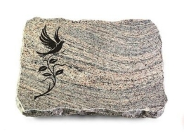 Grabstein, Grabplatte mit Ornament, Grabstein, Juparana, ca. 40x30x5 cm Granit