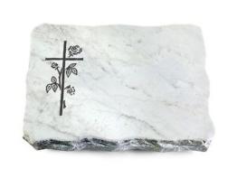 Grabstein, Grabplatte mit Ornament, Grabstein, Marmor  ca. 40x30x5 cm Granit