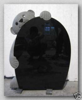 Grabstein, Grabstein mit Bärenfigur aus schwarzem Granit, 60x45x12cm, NEU!!!